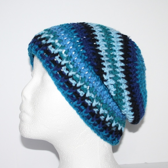 2f26654cd Blue and black NWOT crochet winter hat beanie Boutique